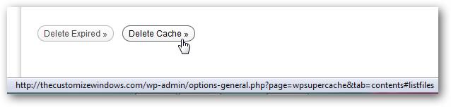 delete cache shortcut