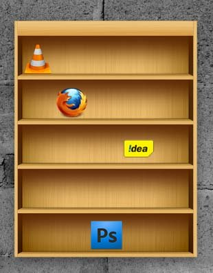 Wooden Shelf Dock Widget for Windows PC