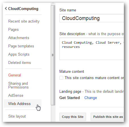 Custom Domain Name for Google Sites