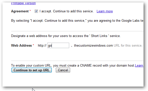 Google custom URL Shortener setup