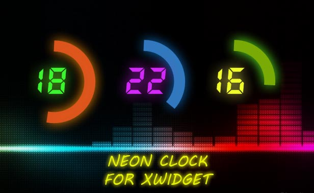 Neon Clock Widget for Windows PC