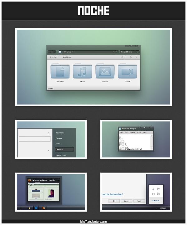 Windows Xp Theme File Software: Windows 7 Theme Noche : Fresh Theme For A Clean Desktop
