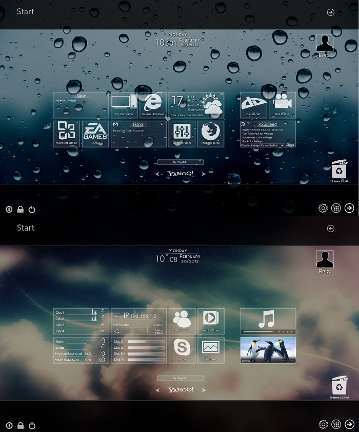 Windows 8 Metro Widget Glass Version for Windows 7