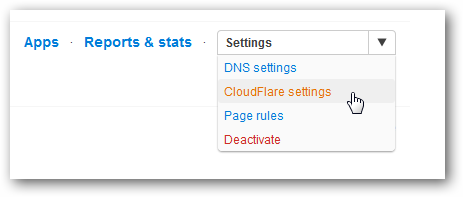 CloudFlare Settings