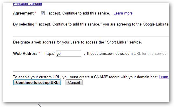 Google custom URL Shortener setup