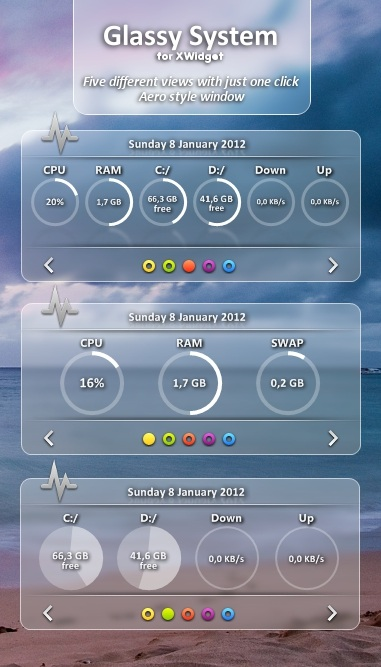 Glassy Widget System Information Set
