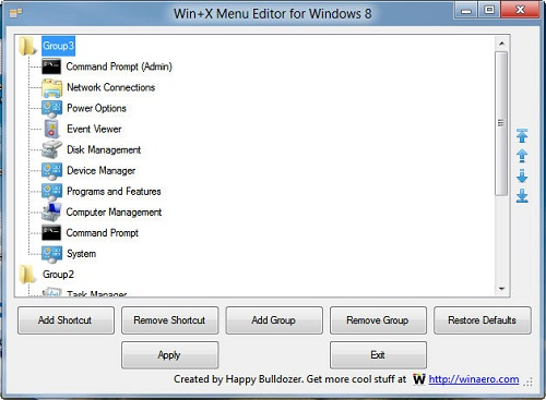 Win+X Menu Editor for Windows 8
