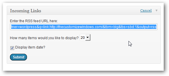 Fix WordPress Incoming Links Error