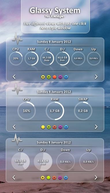 Glassy Widget System Information Set