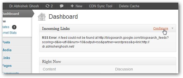 Wordpress Incoming Links Error