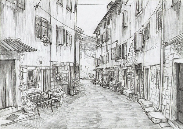 Line Drawing Wallpaper Uk : Historical street wallpaper hand drawn pencil sketch
