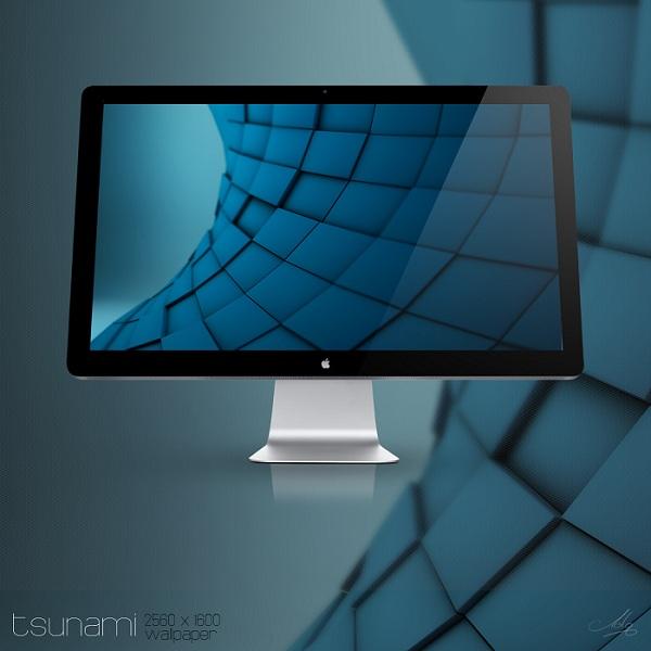 3D Blue Cubes Wallpaper