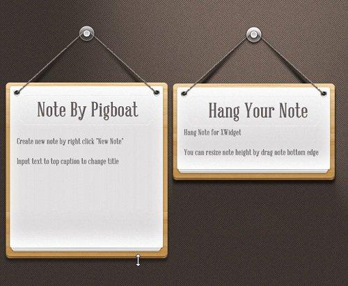Realistic Hanging Wooden Note Widget