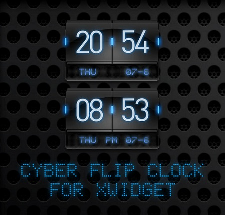 Neon Flip Clock Widget for Windows PC