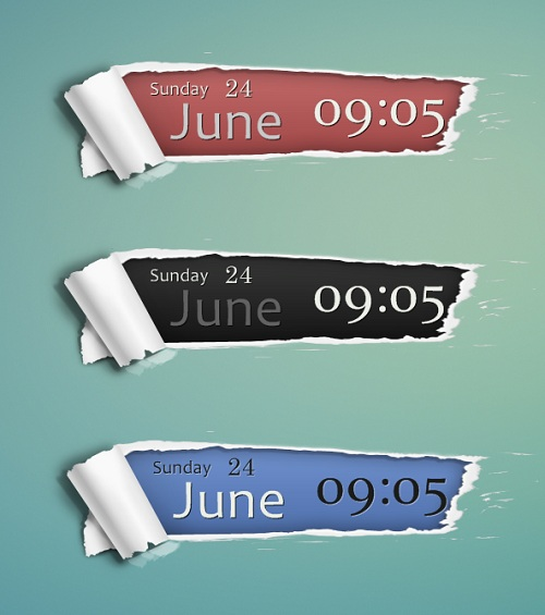 Torn Paper Clock Widget New Version for Rainmeter