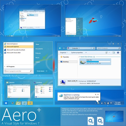 Windows 7 Theme Aero Plus Glow