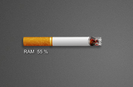 Amazing Realistic Burning Cigarette RAM Meter Widget