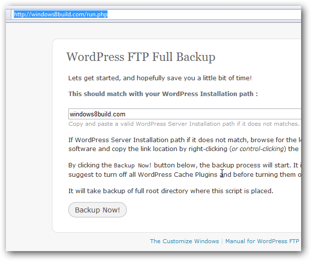 WordPress FTP Full Backup Screeenshot 1