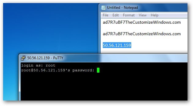 login via putty
