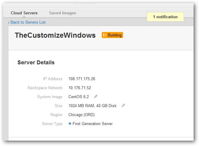 Rackspace Cloud Server New
