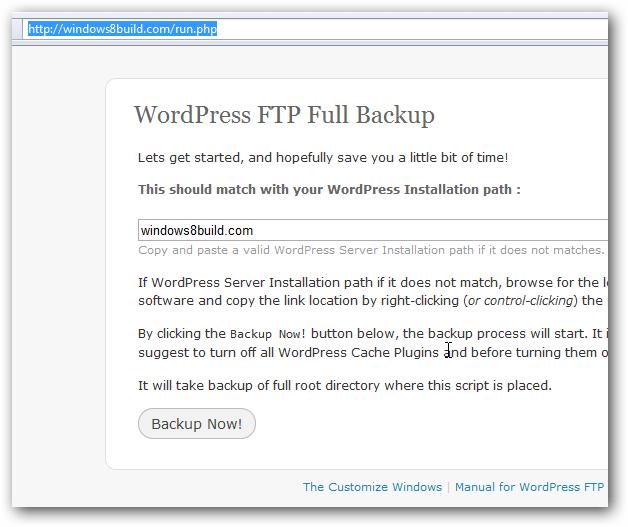 WordPress FTP Full Backup Screeenshot 1