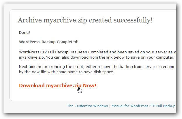 WordPress FTP Full Backup Screeenshot 2
