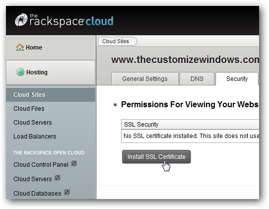 SSL Certificate for WordPress on Rackspace Cloud Sites