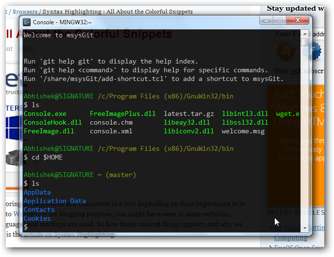 Colored Text with Syntax Highlighting Translucent Console for Windows