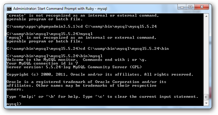 MySQL Windows from command prompt