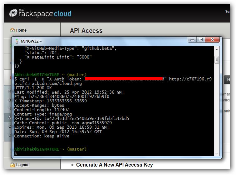 Rackspace Cloud Files Curl on Windows Using GitBash