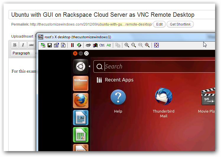 TightVNC Rackspace