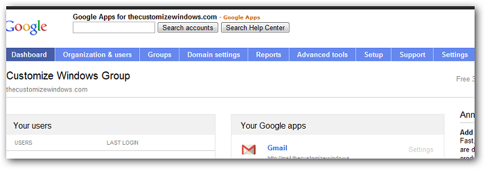 Google Apps Settings Including Settings for Premium Google+
