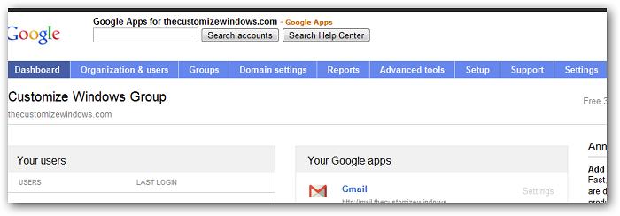 Google Apps Settings Including Settings for Premium Google+