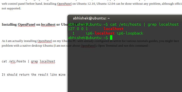 Installing OpenPanel on localhost