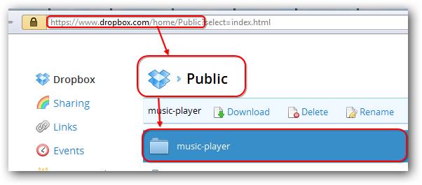 Dropbox web hosting