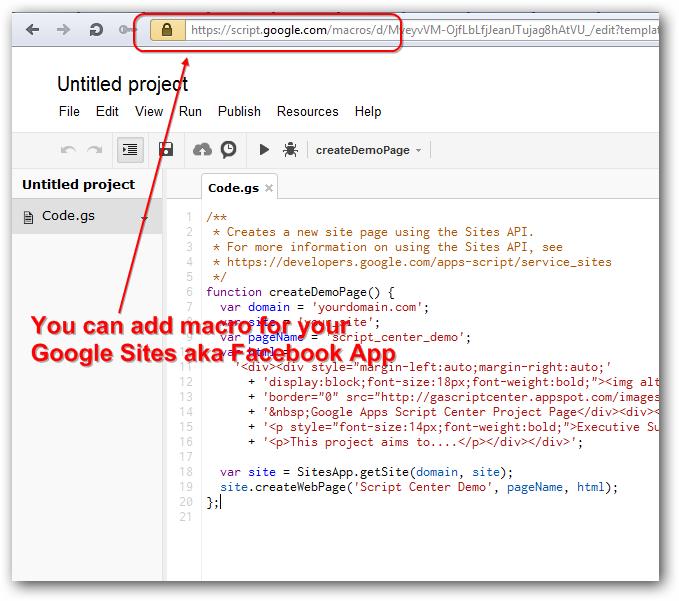 Google Sites Macro