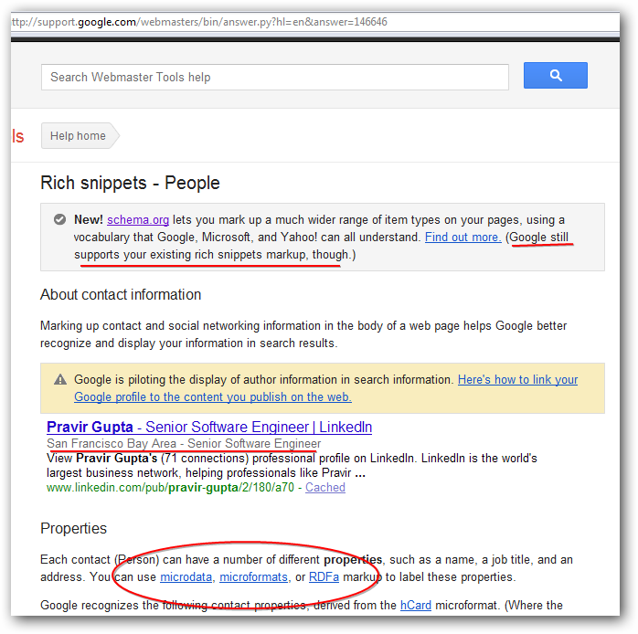 Rich Snippets and Organization of Schemas