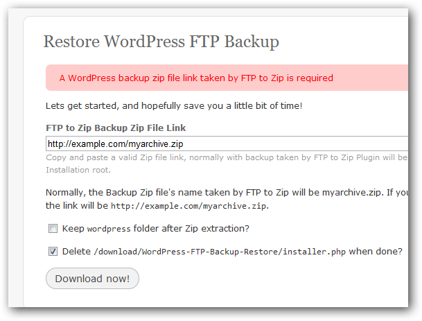 WordPress FTP Zip Backup Restore Plugin