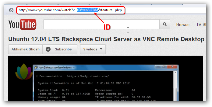 Embed YouTube Video on Rackspace Cloud Files HTML Page