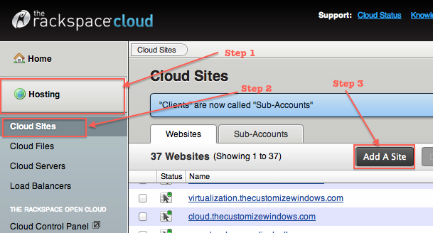 Adding a Third Level Domain in Rackspace Cloud Sites