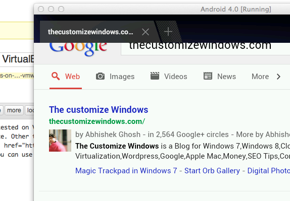 Android 4 on Mac Browser