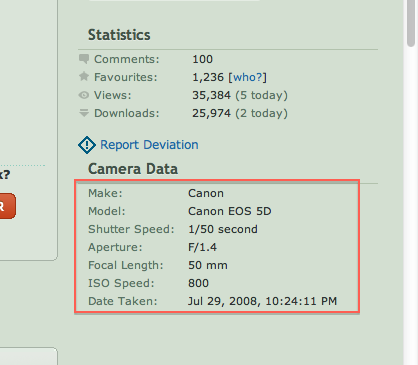 EXIF Data in Digital Photography