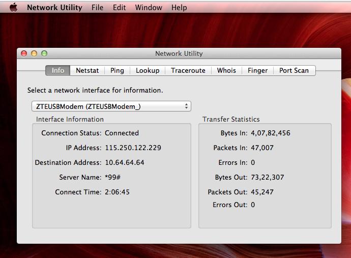 Network Utility in Mac
