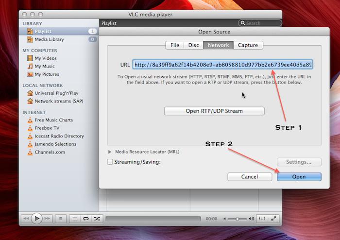 Play Rackspace Cloud Files Streaming Video on VLC Player
