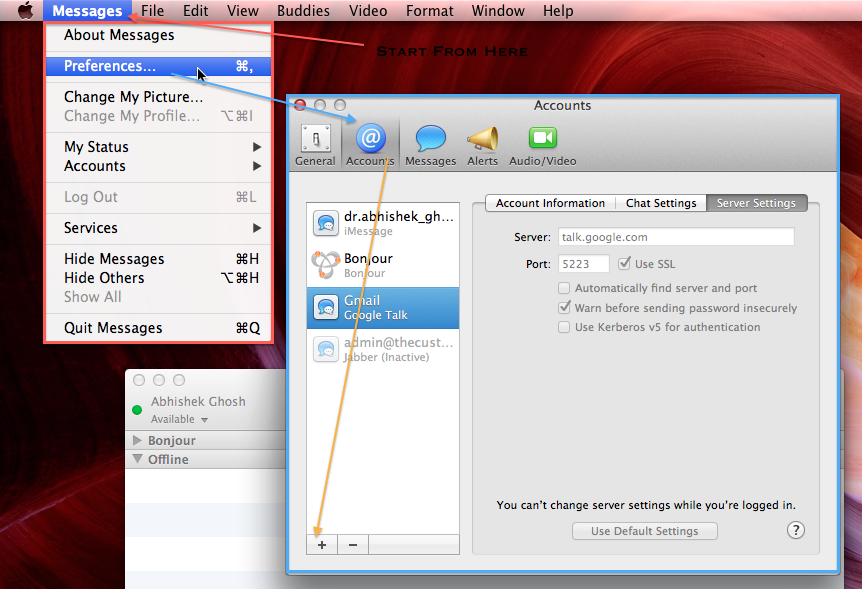 Adding Google Talk in Messages OS X