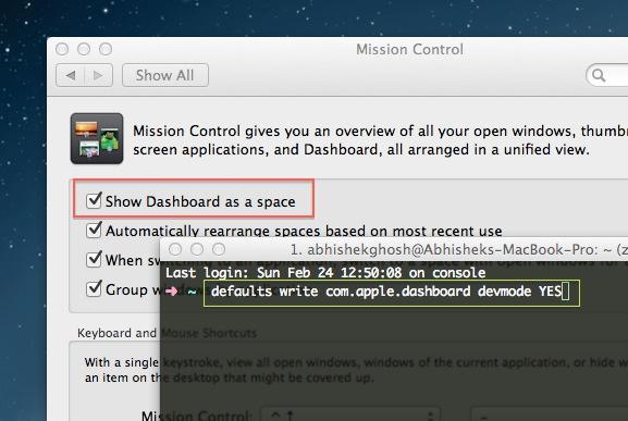 Dashboard of Mac OS X