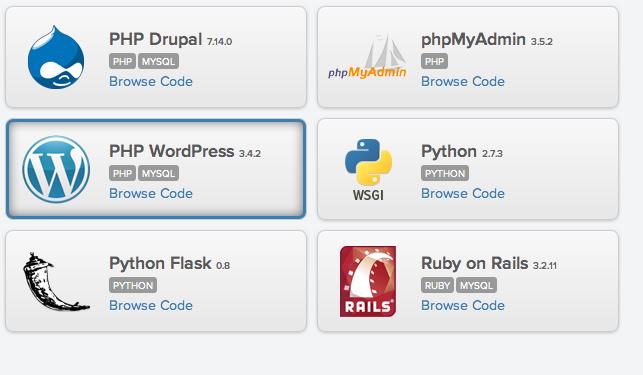 Installing WordPress on AppFog