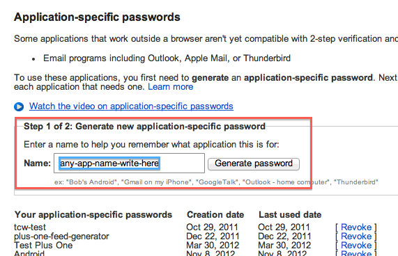 Application-specific Password