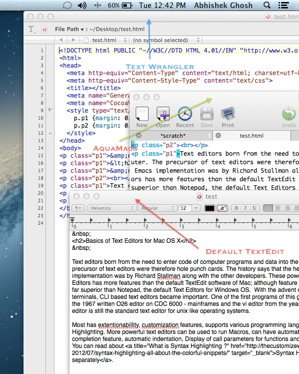 Text Editors for Mac OS X