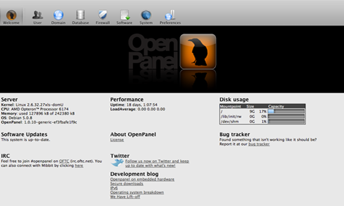 Installing Free Web Control Panel OpenPanel on Rackspace Cloud